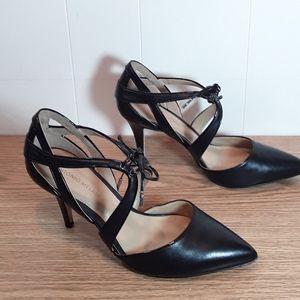 Antonio Melani lace up leather pointy toe heels